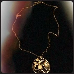 Long vintage style chain with sun & moon pendant